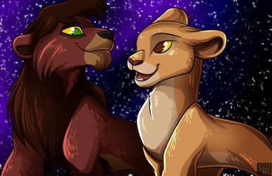 Kovu and Kiara by Draikinator