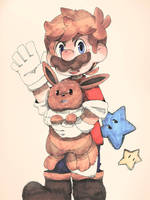 Mario and Eevee. by Uroad7 by Uroad7