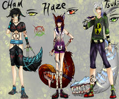 Cham ,Haze, Tsuki  ..New Chars Ref.. by xXFireStarryXx
