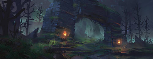 Forest Ruins: Concept Art Process by jordangrimmer
