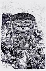 My inks over David Finch's MODOK pencils by M-Harper