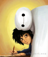 Hiro and Baymax by lydia-san