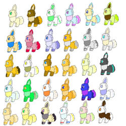 Eevee adopts (5 points each, 9 open) by GalaxyMarshmallow1UP