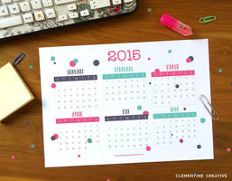 Free Printable 2015 Calendar by ClementineCreative
