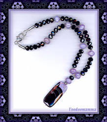 MAUVE BRAZILIAN AGATE AND BLACK CRYSTAL NECKLACE by Voodoomamma