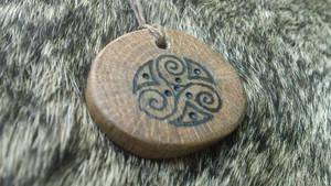 Triskele and Bindrune Oak Talisman by Troll-Blood