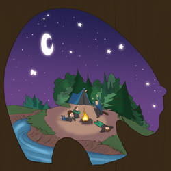 Illustration Friday - Camping by curiousdoodler