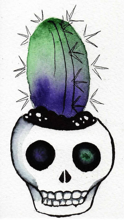 Succulent Skull by curiousdoodler