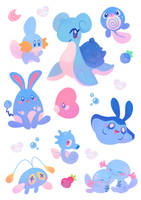 Water Pokemon Stickers by ieafy