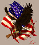 Eagle, Flag and Rifle Tattoo Design by MillionPM