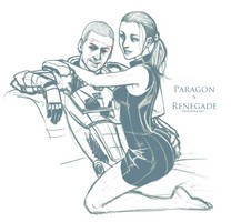Mass Effect-Paragon x Renegade by ghostfire