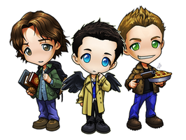 Supernatural Chibis - Sam, Dean, and Castiel by ghostfire