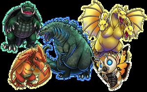 Classic Kaiju - Godzilla and Frienemies by ghostfire