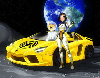 To the Moon! (Garlicoin + Dogecoin + Moon Lambo) by ghostfire