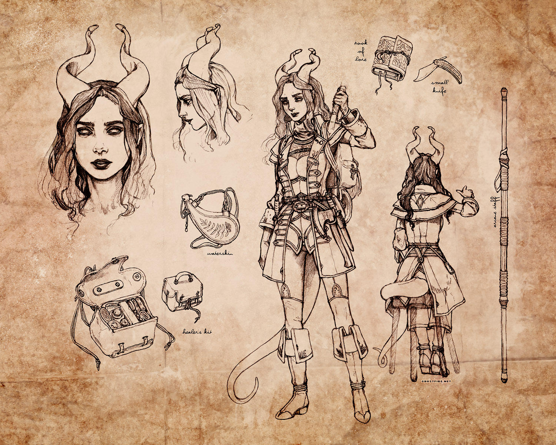 Tiefling Warlock Character Sheet by ghostfire