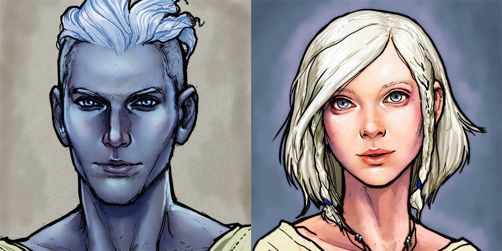 Halcyon and Alyci Character Portraits by ghostfire