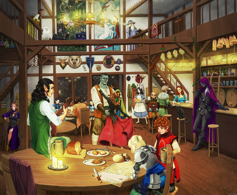 Winter's Night at the Ashfire Arms Inn and Tavern by ghostfire