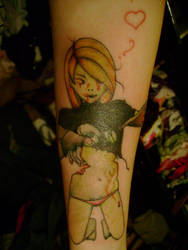 crapped up zombie tattoo by spikes5666
