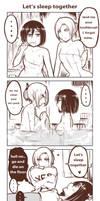 Annie Mikasa Sleep over by Yuriwhale