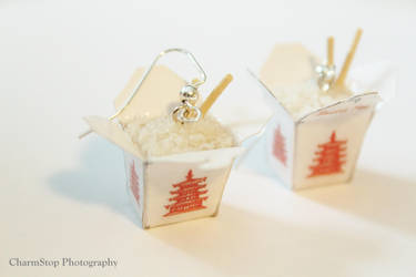 White Rice Chinese Takeout Box Earrings by CharmStop