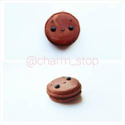 Kawaii Chocolate Macaron Pendant by CharmStop