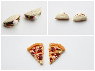 Miniature Taco and Pizza Stud Earrings by CharmStop
