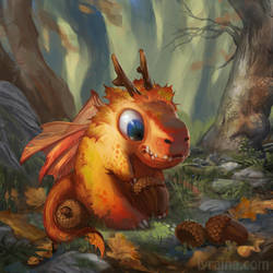 Tiny Autumn Dragon by Lyraina