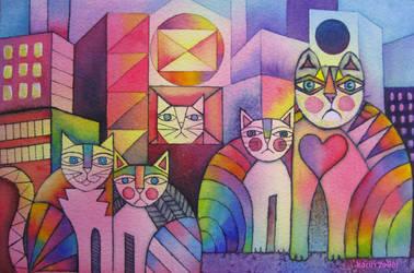 Rainbow City Cats by karincharlotte