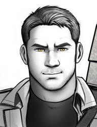 Grey O'Shea - Grayscale Portrait by Holly-the-Laing
