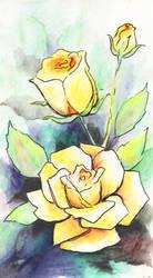 Yellow Rose Watercolor by KaleyObsidia