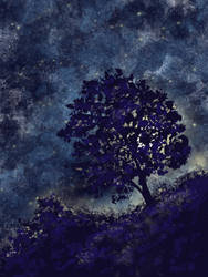 Night tree and Hill by KaleyObsidia