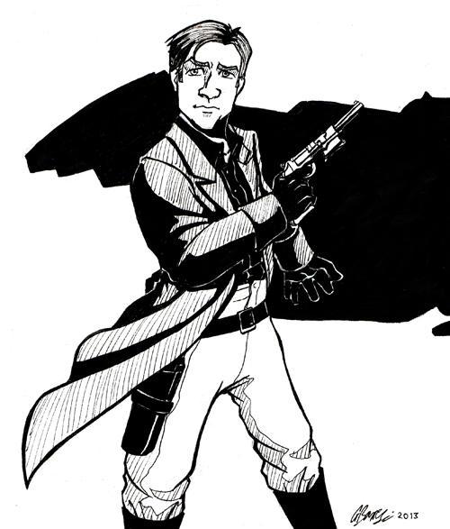Captain Mal Reynolds - ink sketch by ryuuza-art