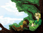 Elf in a tree by ryuuza-art