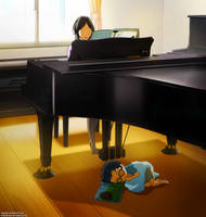 Under the piano by SquallEC
