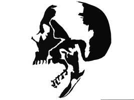 digital stencil of skull by lkwai