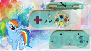 Custom SNES Rainbow Dash MLP:FiM Controller by CARDI-ology