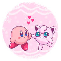 Kirby and Jigglypuff by PeachyEmily