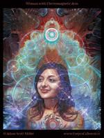 Woman wth Electromagnetic Aura by Adam-Scott-Miller