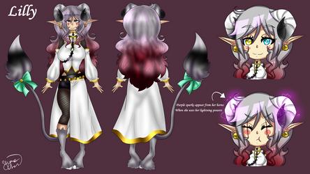 Lilly the lightning demon ref sheet by luna-howltothemoon