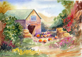 Yard with pumpkins by AnnaFromTheTrain