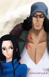 Aokiji and Robin by Nanaruko