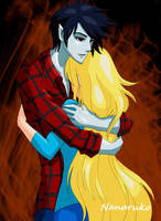 Marshall Lee and Fionna - Adventure Time by Nanaruko
