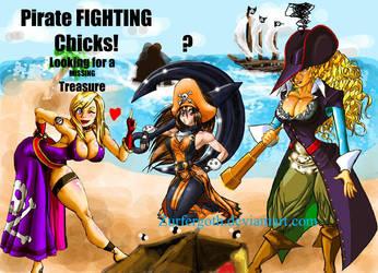 Pirate fighting chicks by Zurfergoth