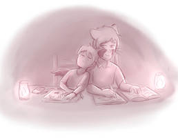 Ryan and christian late night study by Foxhatart