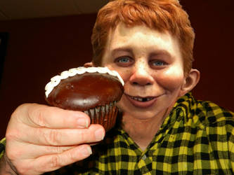 Alfred E Neuman with Chocolate Ganache Cupcake by Bill-Angel