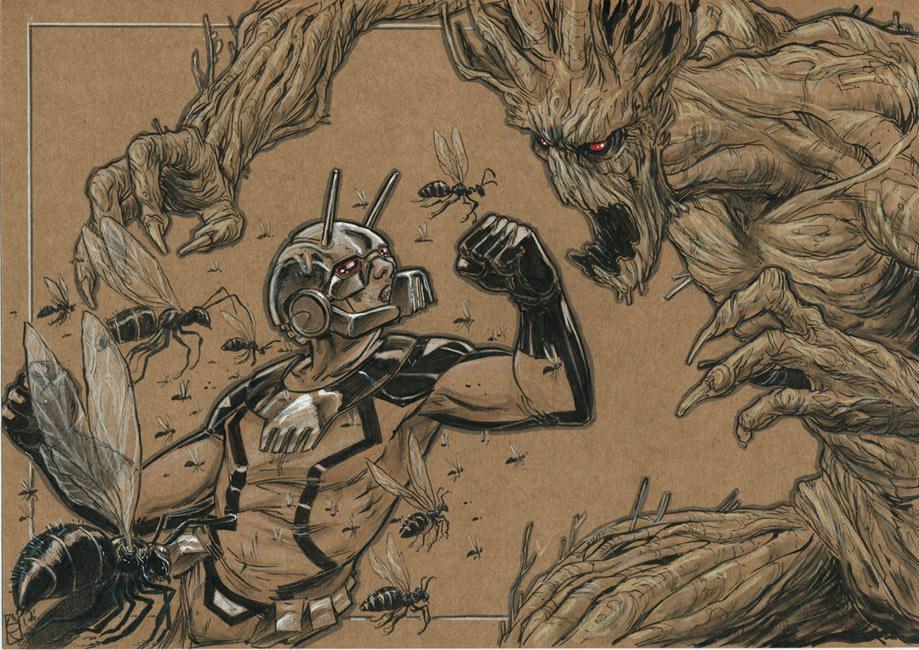 Antman-vs-groot by Nicolas-Demare