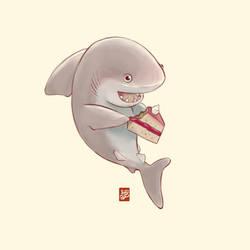 Cute shark having cake by Sheharzad-Arshad