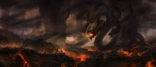 Battle with the 9-head dragon by wanbao