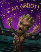 Fierce Baby Groot by dragynsart