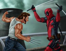 Deadpool vs. Wolverine by dragynsart